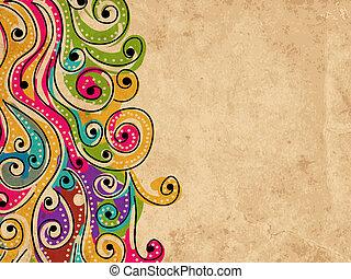 seu, grunge, padrão, abstratos, mão, fundo, desenhado, onda,...