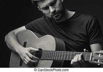 seu, hábil, guitarrista, macho, música, desfrutando