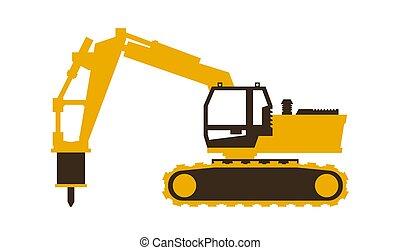 seu, illustration., escavador, hammer., lustroso, machinery., vetorial, construção, style., ícone
