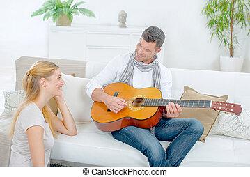 seu, impressão, guitarra, namorada, tentando, tocando