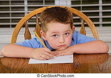 seu, infeliz, dever casa, criança