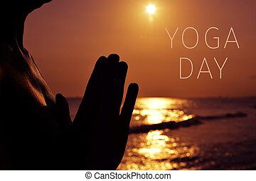 seu, ioga, texto, junto, mãos, ponha, dia, homem