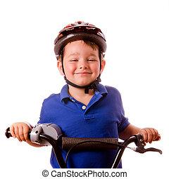 seu, isolado, bicicleta, criança, montando, branca, feliz