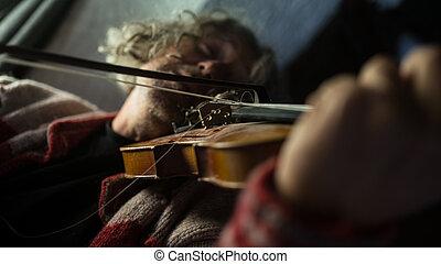 seu, jogos, músico, música, violino, desfrutando, ele