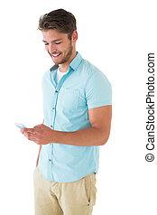 seu, jovem, smartphone, usando, bonito, homem