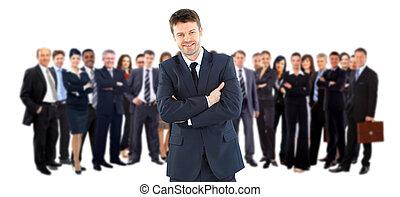 seu, líder, equipe negócio