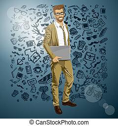 seu, laptop, vetorial, mãos, hipstar, homem