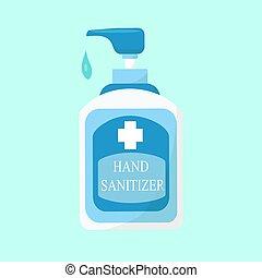 seu, mão, aviso, garrafa, semelhante, hygiene., sanitizer, ...