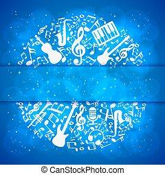 seu, música, fundo, lugar, texto, notas, instrumentos