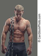 seu, macho, muscular, corrente, shoulder.