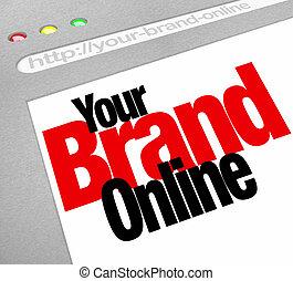 seu, marca, online, palavras, site web, tela, internet