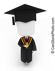 seu, medalha, segurando, graduado