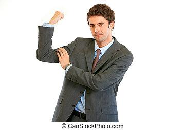 seu, mostrando, jovem, isolado, confiante, músculos, homem negócios, branca
