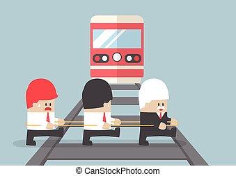 seu, negócio, ignorando, team., cruzamento, ferrovia, líder