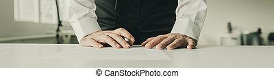 seu, negócio, inclinar-se, sinal, escrivaninha, documento