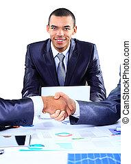 seu, negócio, mãos, selo, sócio, homem negócios, agitação