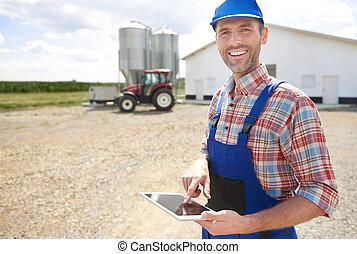 seu, negócio moderno, agricultor