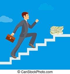 seu, negócio, sucesso, attains, objetivos, alcances, homem negócios, realização