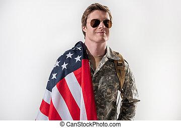 seu, país, orgulhoso, militar, agradado, homem