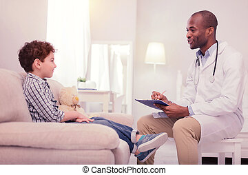 seu, paciente, doutor, positivo, amigável, falando