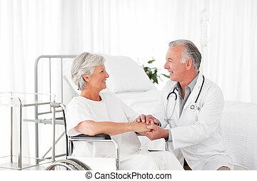 seu, paciente, falando, doutor