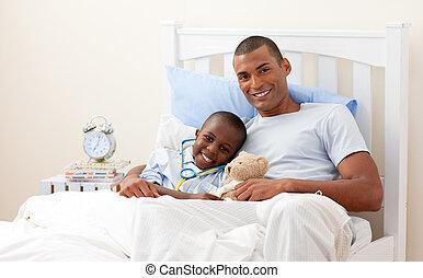 seu, pai, criança, cama doente