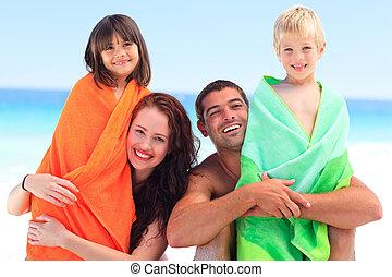 seu, pais, crianças, toalhas