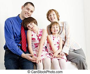 seu, pais, filhas, retrato