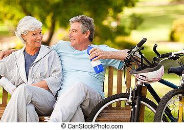 seu, par, bicicletas, idoso
