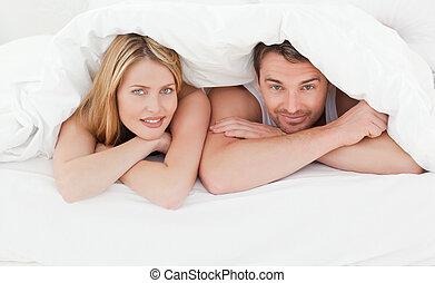 seu, par, encantador, cama