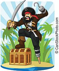 seu, peito, tesouro, pirata
