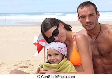 seu, pequeno, praia, par, menina