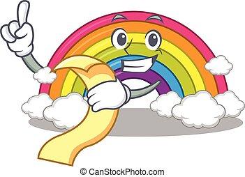 seu, personagem, arco íris, desenho, mascote, menu, mão