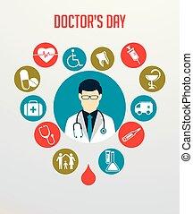 seu, pescoço, ícones, doutor médico, estetoscópio, ao redor