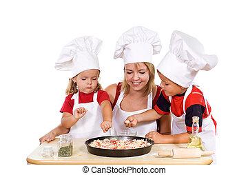 seu, pizza, crianças, preparar, mãe