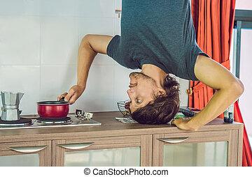 seu, plataformas, baixo, parte superior, mãos, homem, cozinha