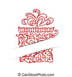 seu, presente, desenho, caixa, cartão postal, stylized