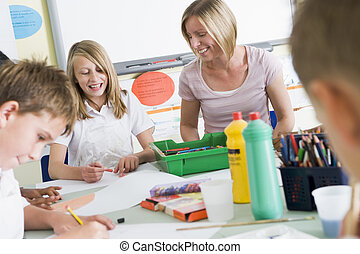 seu, professor, classe arte, schoolchildren