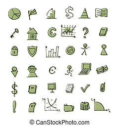seu, projeto fixo, finanças, ícones