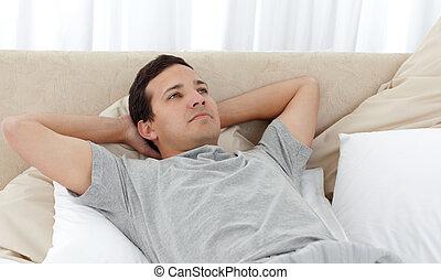 seu, quieto, relaxante, homem, cama