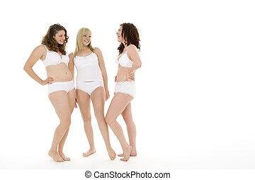 seu, roupa interior, retrato mulheres