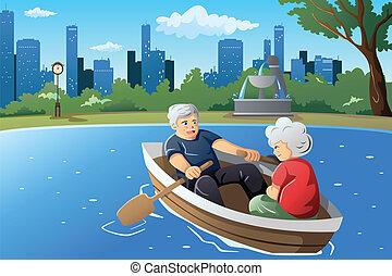 seu, sênior, desfrutando, par, aposentadoria