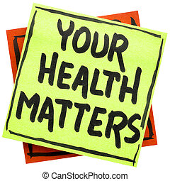 seu, saúde, questões, lembrete, nota