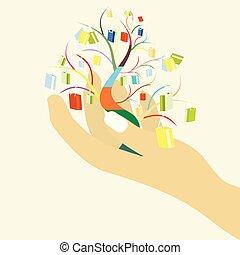 seu, sacolas, shopping mulher, coloridos, árvore grande, venda, mão, conceito, desenho