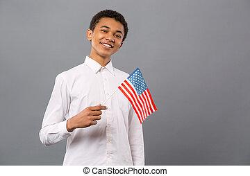 seu, sendo, país, orgulhoso, jovem, alegre, homem