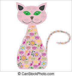 seu, silueta, bonito, isolado, gato, vetorial, fundo, flores brancas, desenho