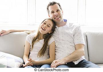 seu, sofá, pai, anos, nove, lar, menina, criança