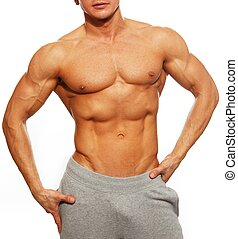 seu,  sporty, mostrando,  Muscular,  abdominals, homem