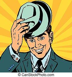 seu, suave, avatar, chapéu homem retrato, levanta