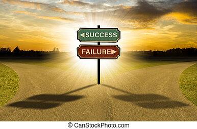 seu, sucesso, negócio, dois, escolha, fracasso, selecione,...